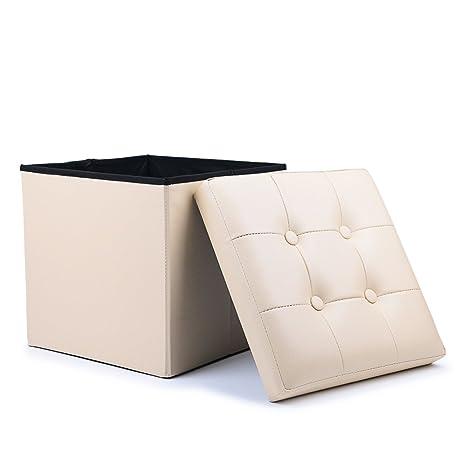 WoneNice Folding Storage Ottoman Cube Foot Rest Stool Seat (Beige)  sc 1 st  Amazon.com & Amazon.com: WoneNice Folding Storage Ottoman Cube Foot Rest Stool ...
