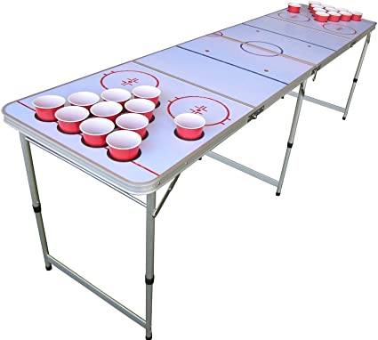 Amazon Com Hockey Beer Pong Table With Predrilled Cup Holes