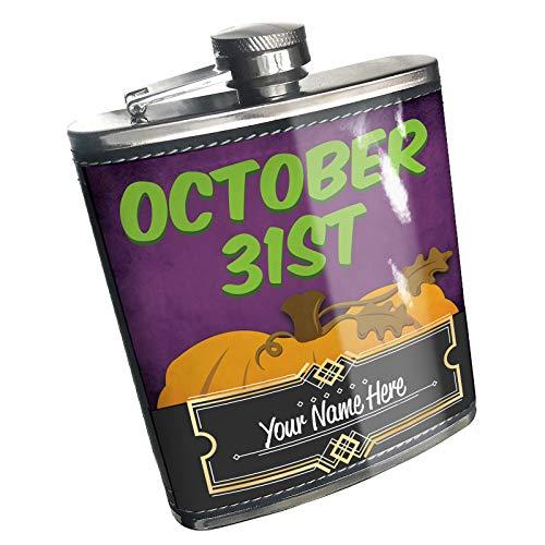 Neonblond Flask October 31st Halloween Pumpkin Top Custom Name Stainless Steel -