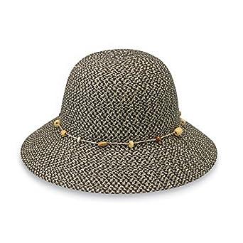 Wallaroo Hat Company Women s Naomi Sun Hat - Natural Woven Fibers - UPF50+  (Charcoal) 49f2f835b76