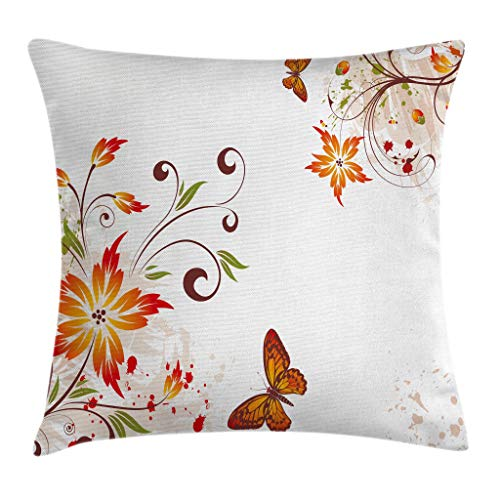 Floral Throw Pillow Cushion Cover by Ambesonne, Spring Themed Swirled Flowers Leaf and Butterfly Nature Foliage Elegance Motif, Decorative Square Accent Pillow Case, 18 X18 Inches, Peach Vermilion ()
