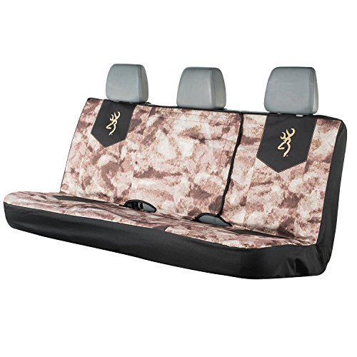 Browning Camo Bench Seat Cover, A-TACS AU Camo, Full Size, Bench-Seat Cover with Fold-Down Center Console Access, Water Resistant 600D Polyester