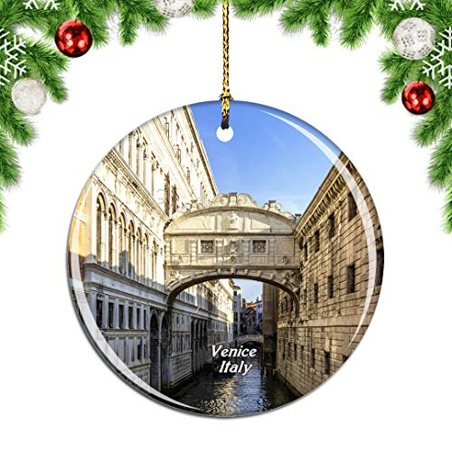 Weekino Italy Bridge of Sighs Venice Christmas Xmas Tree Ornament Decoration Hanging Pendant Decor City Travel Souvenir Collection Double Sided Porcelain 2.85 Inch