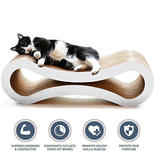PetFusion Ultimate Cat Scratcher Lounge, Large, Cloud White (We Dropship For You)