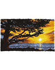 Large Size Latch Hook Rug Kits for Adults and Children 43.3 x 26 Inch DIY Needlework Crocheting Rug Kit with Color Preprinted Pattern