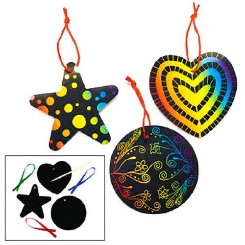 Fun Express Magic Color Scratch Ornaments Craft Kit (24 Piece) Toy