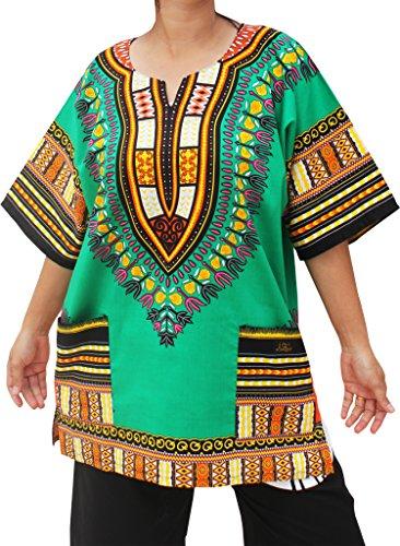 RaanPahMuang Unisex African Dashiki Kaftan Shirt all sizes XS - 7XL All Colours, XXXXX-Large, Green Mexico