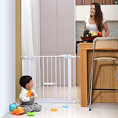 Cumbor 385 Auto Close Safety Baby Gate Extra Tall Durable Dog Gate with Door Easy WalkThru Child