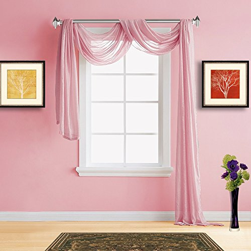 Warm Home Designs Extra Long Rose Pink Sheer Window Scarf. All Premium Valance Scarves are 54 X 216 Inches in Size and are Great Window Toppers for Any Room in Your House. Color: K Rose 216