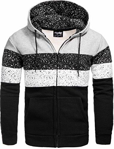 S!RPREME Gesprenkelter Kapuzenpullover Hoodie Kapuze Sweatshirt Zip Sweatjacke Pullover 3531 Schwarz Grau M