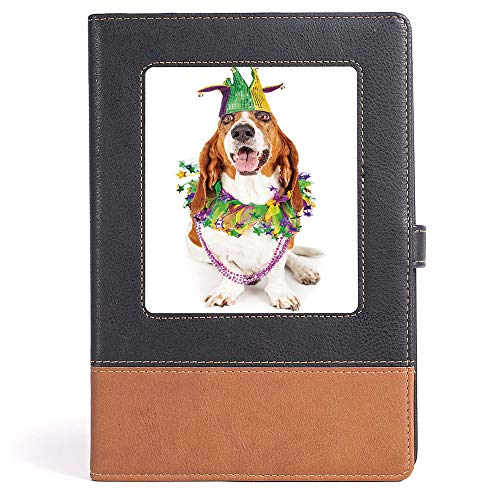 Portable Notebook - Mardi Gras - College Ruled Notebook/Composition/Journals/Dairy/Office Note Books - Happy Smiling Basset Hound Dog Wearing a Jester Hat Neck Garland Bead Necklace Decorative - 100 s