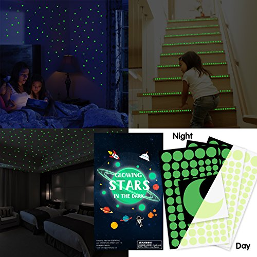 Glow in the Dark Stars, 252 PCS No Trace Glowing Star Stickers Round Dot Style with Moon, Perfect for Kids Bedding Room Birthday Gift Starry Sky Party Decoration Luminous - In To Party How Make Dark A Glow The