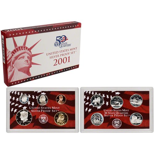(2001 S US Proof Set 10-Coin Silver Proof Set Mint State State Quarters Proof Set Proof US Mint)