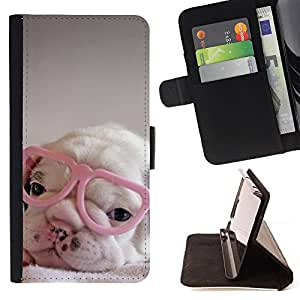 BullDog Case - FOR/Apple Iphone 4 / 4S / - / puppy pink cute sweet heart glasses /- Monedero de cuero de la PU Llevar cubierta de la caja con el ID Credit Card Slots Flip funda de cuer