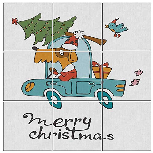 iPrint 9 Pieces Christmas Canvas Wall Art,Blue Vintage Car Dog Driving with Santa Costume Cute Bird Tree and Gift Present,36