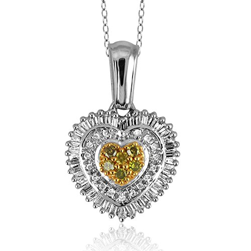 Jewelexcess 1/2 Carat T.W. Yellow and White Diamond Sterling Silver Heart Pendant ()