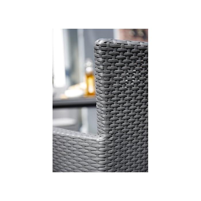 512tzchsjUL Incluye un cojín en el asiento y respaldo ergonómico. Sillón para interior y exterior, ideal para jardines, terrazas, porches y otros espacios de entretenimiento. Acabado de ratán plano plano, duradero, resistente al clima y a la corrosión.