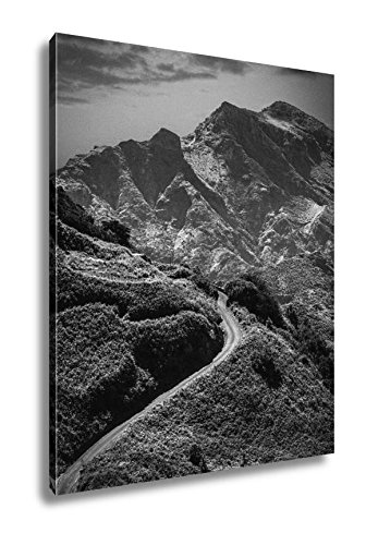 Ashley Canvas Mountain Landscape On Tropical Island Tenerife Canary In Spain, Wall Art Home Decor, Ready to Hang, Black/White, 20x16, AG6027526 by Ashley Canvas
