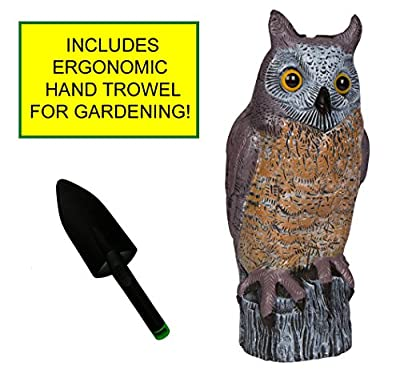 Life Inspired Great Horned Owl Plastic Decoy Non-chemical Birds and Pest Deterrent Garden Protector 16.5 Inches Tall Comes with Ergonomic Grip Durable Plastic Trowel for Gardening Work
