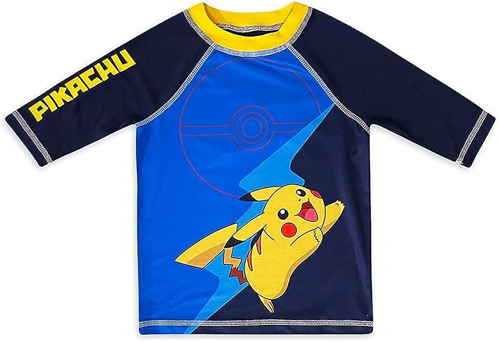 Creatures Inc Boy's Pokemon Pikachu Short Sleeve Rash Guard Shirt