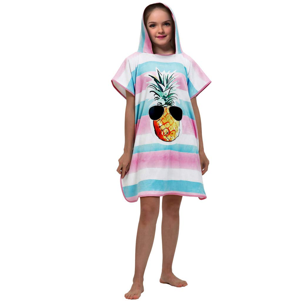 Zerototens Kids Hooded Beach Bath Towel Boys Girls Super Soft 3D Digital Printing Childrens Towel Bathrobe Beachwear Outfit 2-10 Years Old