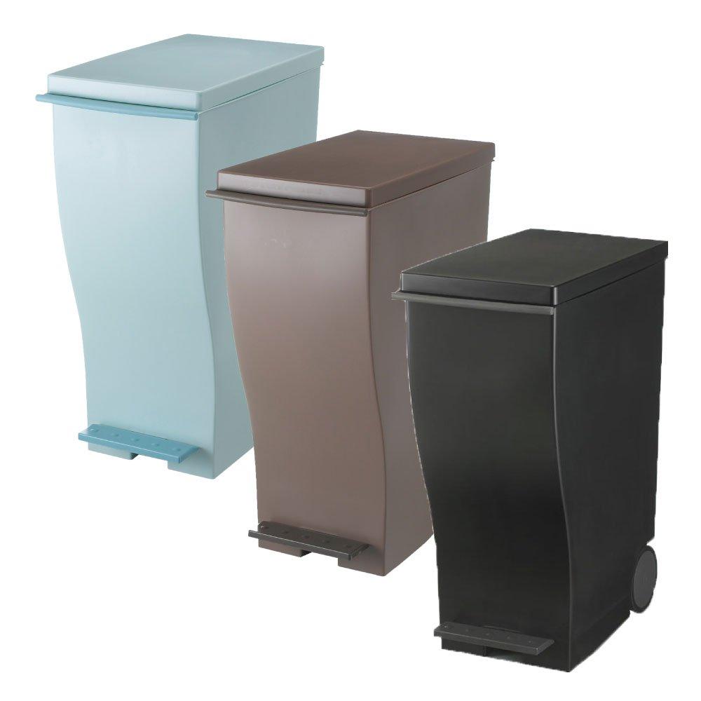 岩谷マテリアル kcud 30 スリムペダル 3個セット ゴミ箱 ごみ箱 ダストボックス おしゃれ ふた付き クード (オールブルーグリーン×オールブラウン×ブラック) B0742D67L8 オールブルーグリーン×オールブラウン×ブラック オールブルーグリーン×オールブラウン×ブラック