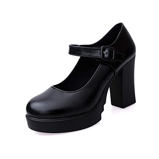 019b5cc5619b Women Mary Jane Pump Classic High Block Heel Lolita Platform Shoes Ankle  Buckle Work Shoes by