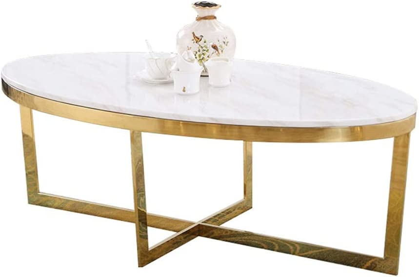 Yike Coffee Table Oval Marble Coffee Table Solid Iron Frame White Living Room Small Apartment Sofa Side Tea Table Size 80 45 42 Cm Amazon De Kuche Haushalt