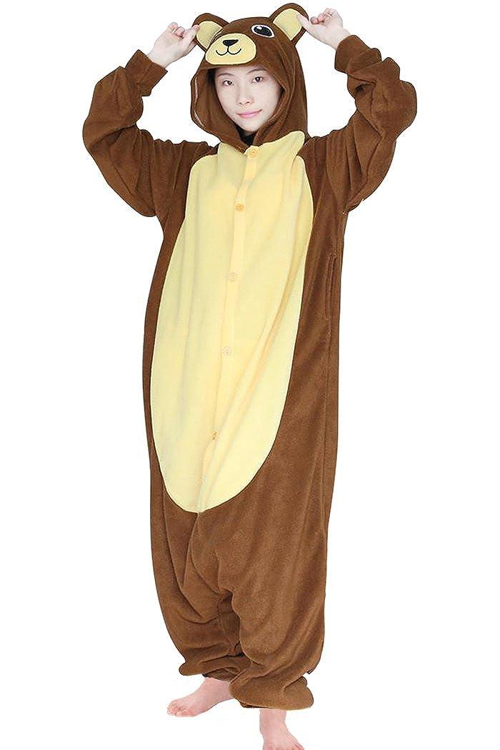 dressfan Unisex Adult Kids Animal Cosplay Costume Coffee Bear Pajamas