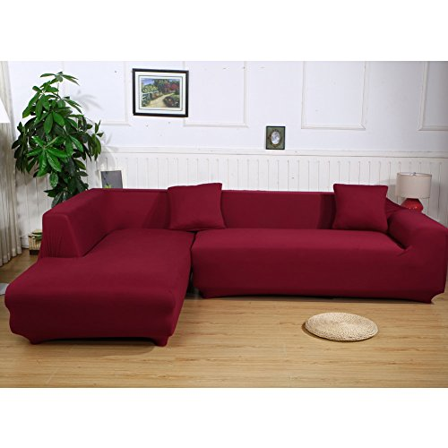 Leather L-shape Sectional Sofa (Eleoption Sectional Sofa Slipcover Couch Cover, Universal Stretch Fabric Sofa Slipcover 2Piece for Sectional Sofa L Shape Couch Protector Gift Pillow Cover (Wine Red, L-style 3+3 Seater))