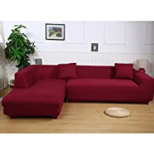 Universal Sofa Covers for L Shape, 2pcs Polyester Fabric Stretch Slipcovers + 2pcs Pillow Covers for Sectional sofa L-shape Couch - Wine-colored
