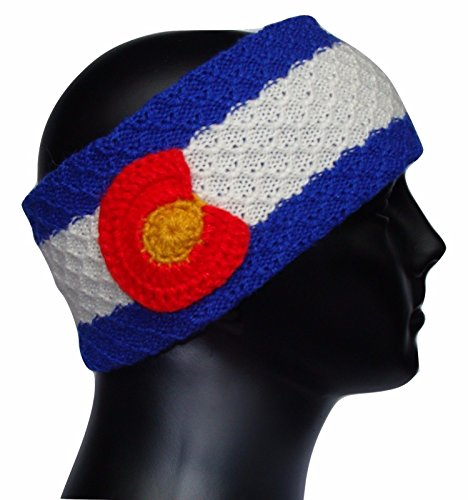 #108 Headband Artisan Knit Alpaca Soft Wide One Size Colorado Flag Mountain Ski