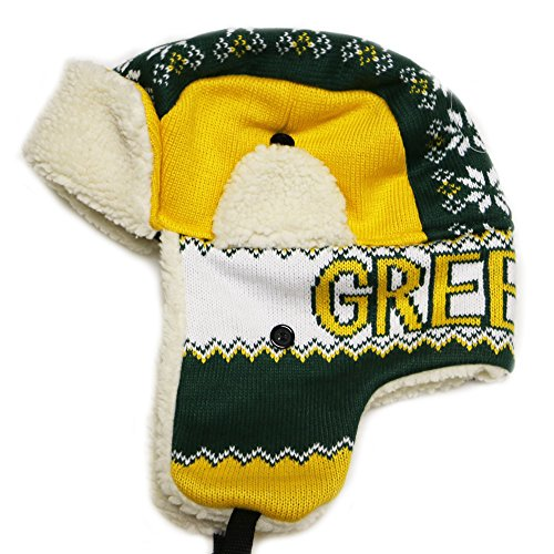 Green Bay Thick Warm Winter Knit Trapper Hat Cap One Size Adult Gold/Green Snowflake