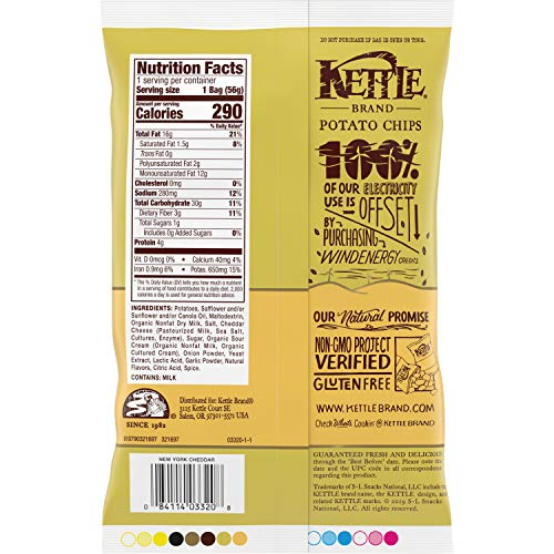 Kettle Brand Potato Chips, New York Cheddar Kettle Chips, 2 Oz