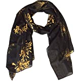 Lily Park Women's Fashion Soft Light Weight Floral Print Sheer Scarf Shawl Wrap (Black/Gold)