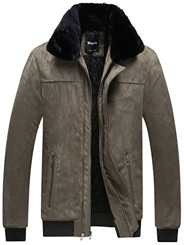 Wantdo Men's Winter Coat Thick Fleece Cotton Padded Jacket with Faux Fur Collar