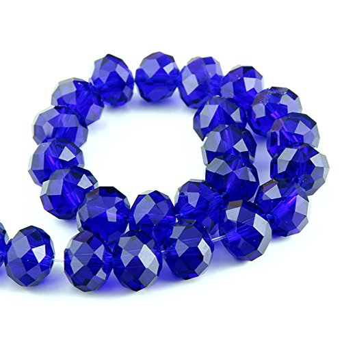 Faceted Donut Crystal (Bingcute 300Pcs 6x8mm Sapphire Crystal Faceted Rondelle Beads)