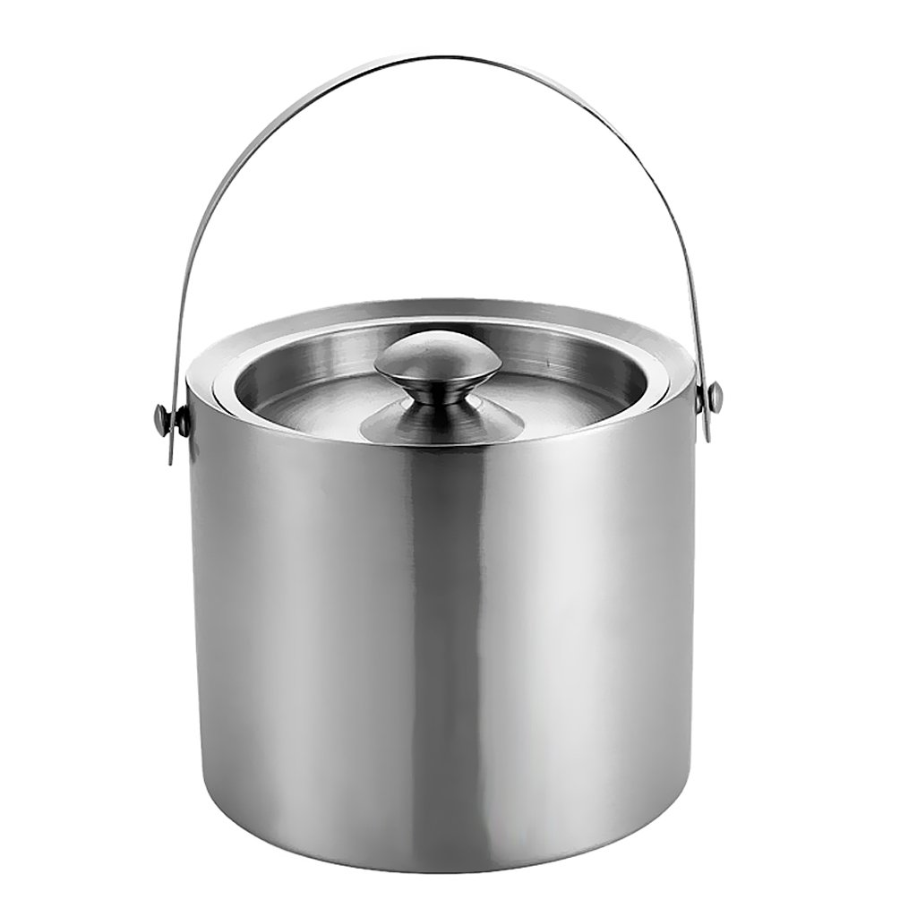 Homyl Eiswürfelbehälter Edelstahl mit Deckel - Silber, 3L B079Q9N7J8 Cocktailshaker