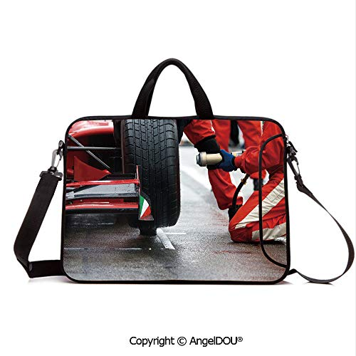 AngelDOU Customized Neoprene Printed Laptop Bag Notebook Handbag Professional Racing Team at Work Pit Stop Racecar Fast Tyre Changing Image Compatible with mac air mi pro/Lenovo/asus/acer Multico