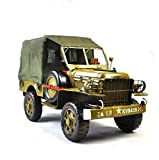 GL&G Retro Sheet metal car model Decoration green military Car model Crafts Collectible Vehicles High-end Business gift office bar Tabletop Scenes Ornaments Keepsakes,351721cm