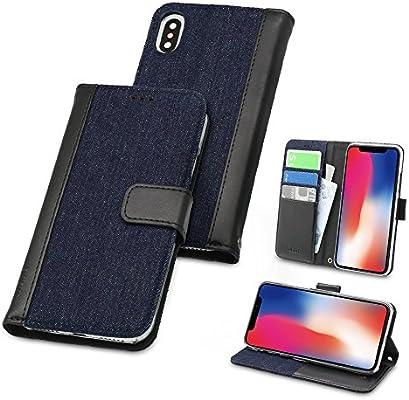 c338ed76e0 オウルテック iPhone X/XS 手帳型ケース kuboq デニム素材 カードポケット スタンド機能 ストラップホール インディゴブルーデニム ×  ブラック OWL-CVIP822-IDB