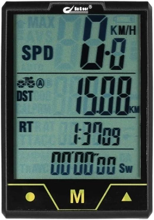 Cuentakilómetros Bicicleta inalámbrico con conexión de Cable de ...