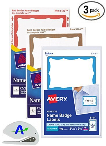 amazon com 3 pack value bundle avery adhesive color border name