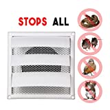 6-Inch Louvered Dryer Air Vent Cap Cover with Pest Guard Metal Screen, White