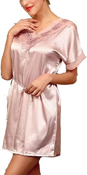 Vestido De Camisón De Mujer Vestido De Mujeres Bata Casuales Pijama Mujer Robe De Chambre Mangas Cortas con Cuello En V Camisa Lencería Chemise (Color : Rosa, Size : One Size): Amazon.es: