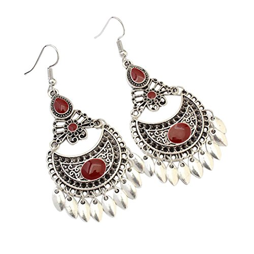 (AIMTOPPY Women Jewelry, Women Retro Fashion hollow crescent leaf earring earrings (RED, free))