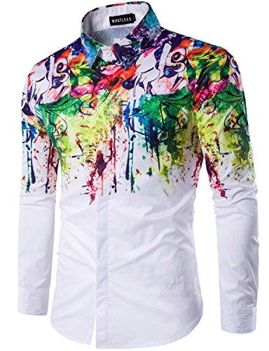 Whatlees Mens Geek Psychedelic Splash-ink Printed Slim Fit Long Sleeve Dress Shirts, T400, Asian L(US S) from WHATLEES