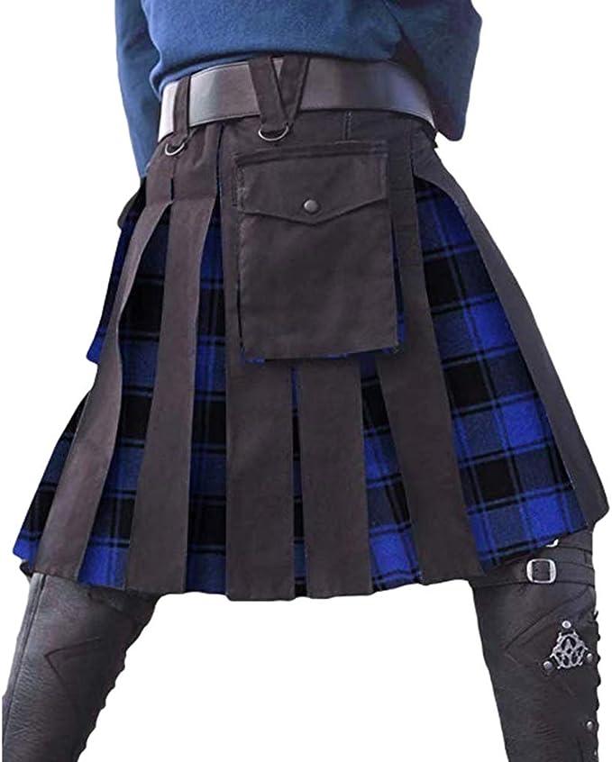 Yying Falda Plisada Medieval Hombres Falda Escocesa Tradicional ...