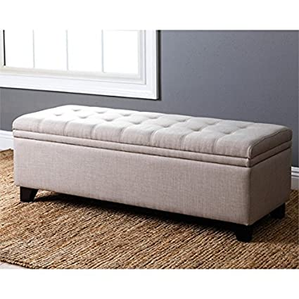 Abbyson Living Asher Linen Tufted Double Storage Ottoman In Wheat