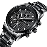 CIVO Mens Chronograph Watches Multifunctional Date Calendar Luxury Watch Gents Business Casual Dress Waterproof Analogue Quartz Wrist Watch for Men with Black Stainless Steel Band